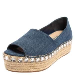 Miu Miu Blue Denim Crystal Embellished Peep Toe Platform Espadrilles Size 40