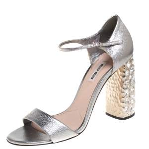 Miu Miu Silver Leather Crystal Embellished Heel Ankle Strap Sandals Size 39