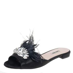 Miu Miu Black Satin And Feathers Crystal Embellished Flat Slides Size 41