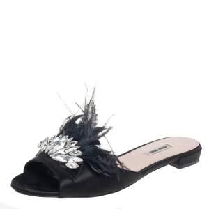 Miu Miu Black Satin And Feathers Crystal Embellished Flat Slides Size 41