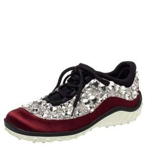 Miu Miu Burgundy/Black Mesh And Satin Astro Sneakers Size 35