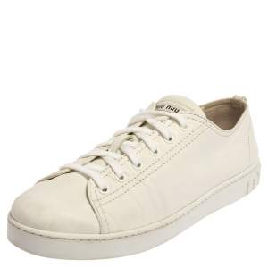 Miu Miu White Leather Low Top Sneaker Size 40.5