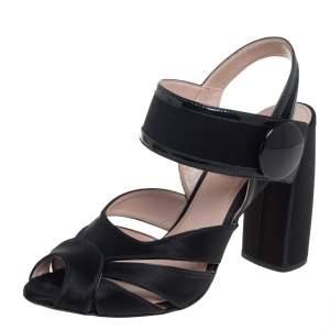 Miu Miu Black Satin And Patent Leather Slip On Sandals Size 38.5