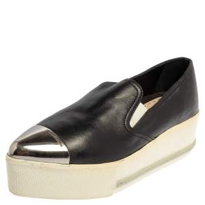 Miu Miu Black Leather Metal Cap Toe Slip On Sneakers Size 37