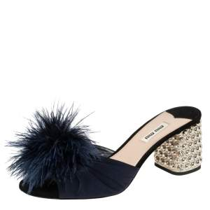 Miu Miu Blue Satin Feather and Crystal Embellished Heel Mules Size 39