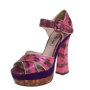 Miu Miu Pink Python Embossed Leather Platform Sandals Size 36.5