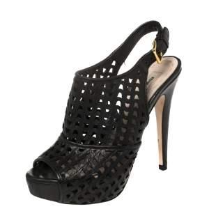Miu Miu Black Leather Laser Cut Peep Toe Slingback Sandals Size 35