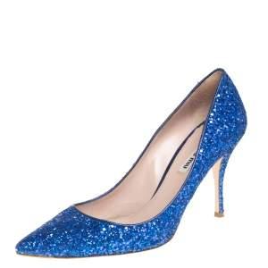 Miu Miu Blue Glitter Pointed Toe Pumps Size 39.5