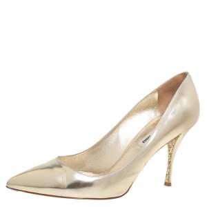 Miu Miu Gold Leather Pointed Toe Pumps Size 39