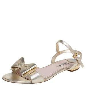 Miu Miu Gold Leather Ankle Strap Sandals Size 40