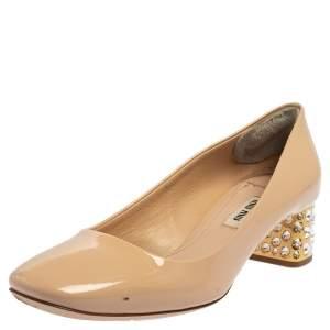 Miu Miu Beige Patent Leather Embellished Heel Pumps Size 37.5