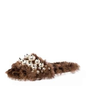 Miu Miu Brown Fur Pearl Embellished Sandals Size 40