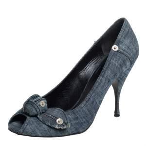 Miu Miu Blue Denim Peep-toe Pumps Size 41