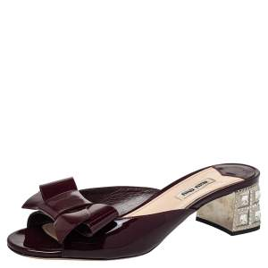 Miu Miu Burgundy Patent Leather Bow Slide Sandals Size 38