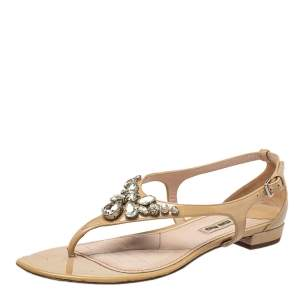 Miu Miu Beige Patent Leather Crystal Embellished Thong Flat Sandals Size 37.5