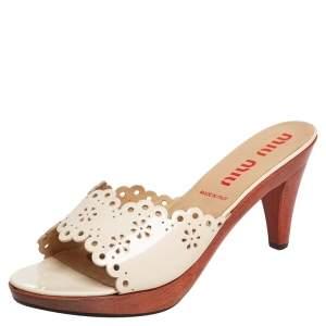 Miu Miu White Patent Leather Slide Sandals Size 40