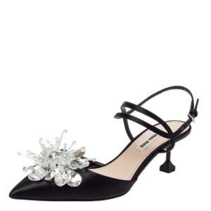 Miu Miu Black Satin Embellisehd Slingback Sandals Size 37