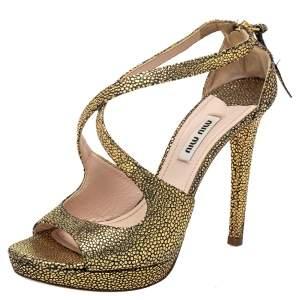 Miu Miu Gold Leather Strappy Sandals Size 36.5