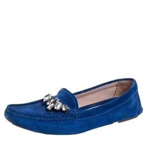 Miu Miu Blue Suede Crystal Embellished Slip On Loafers Size 39.5
