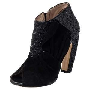 Miu Miu Black Suede And Glitter Peep Toe Booties Size 38.5
