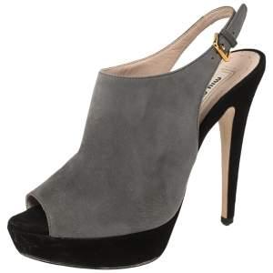 Miu Miu Grey/Black Suede Platform Peep Toe Slingback Sandals Size 36.5