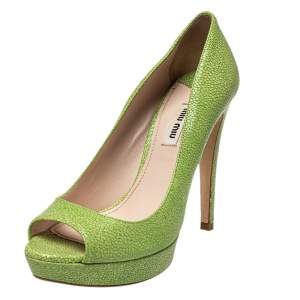 Miu Miu Green Leather Peep Toe Pumps Size 38