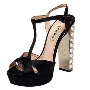 Miu Miu Black Satin T-Strap Crystal Embellished Heel Platform Sandals Size 38
