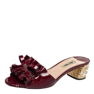 Miu Miu Burgundy Ruffle Patent Leather Crystal Embellished Slide Sandals Size 38.5