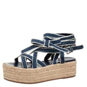 Miu Miu Blue/White Denim Wrap Around Flat Sandals Size 34.5
