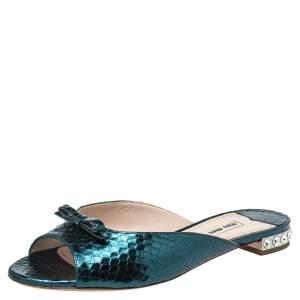 Miu Miu Metallic Green Python Embossed Leather Bow Detail Jeweled Heel Flat Slides Size 38.5