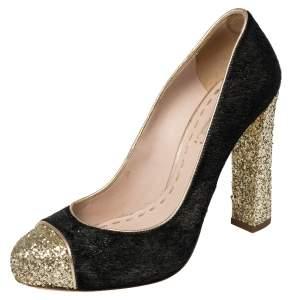 Miu Miu Gold/Black Glitter And Calf Hair Pumps Size 39