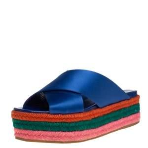 Miu Miu Blue Satin Criss Cross Espadrille Slide Sandals Size 35.5
