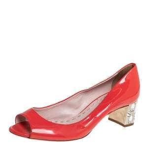 Miu Miu Orange Patent Leather Crystal Embellished Block Heel Peep Toe Pumps Size 38.5