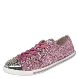 Miu Miu Pink Glitter Low Top Sneakers Size 39