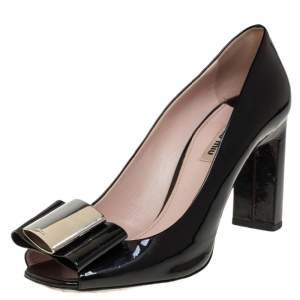 Miu Miu Black Patent Leather Bow Open Toe Block Heel Pumps Size 40