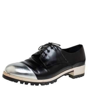 Miu Miu Black/Silver Leather Lace Up Derby Size 38