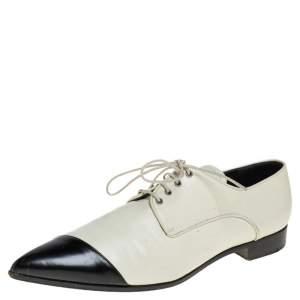 Miu Miu Off-white/Black Leather Cap Toe Pointed Toe Derby Size 38