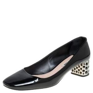Miu Miu Black Patent Leather Crystal Embellished Block Heel Pumps Size 38.5