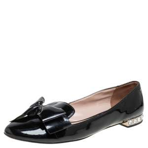 Miu Miu Black Patent Leather Bow Crystal Embellished Ballet Flats Size 40.5