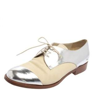 Miu Miu Metallic Sliver And Beige Patent And Leather Oxfords Size 38