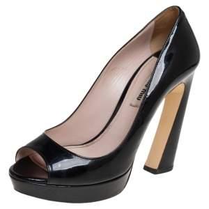 Miu Miu Black Patent Leather Open Toe Platform Pumps Size 37