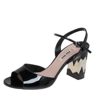 Miu Miu Black Patent Leather Slingback Sandals Size 39.5