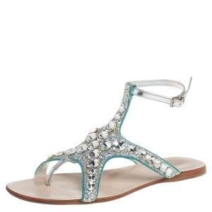 Miu Miu Silver Glitter And Leather Crystal Embellished Flat Ankle Strap Sandals Size 38