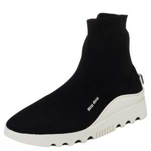 Miu Miu Black Knit Fabric Sock Sneakers Size 38.5