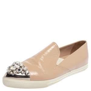 Miu Miu Beige Patent Embellished Cap Toe Slip On Sneakers Size 38