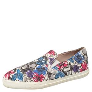 Miu Miu Multicolor Printed Canvas Slip On Sneakers Size 38