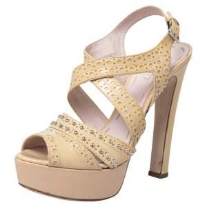 Miu Miu Yellow Patent Leather Peep Toe Platform Ankle Strap Sandals Size 39.5