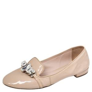 Miu Miu Beige Patent Leather Crystal Embellished Smoking Slippers Size 39