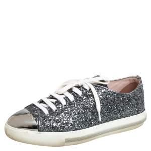 Miu Miu Grey Glitter And Metal Cap Toe Low Top Sneakers Size 38.5