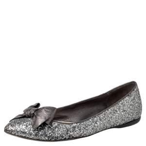 Miu Miu Metallic Grey Glitter Bow Ballet Flats Size 37